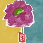 Big Purple Flower In A Small Vase- Art By Linda Woods Poster