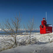Big Red Lighthouse In Winter Poster