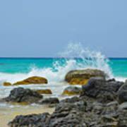 Big Splash On Rocks Of Playa Brava Poster