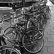 Bike Parking -- Amsterdam In November Bw Poster