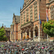 Bikes In Front Of Dutch University Poster