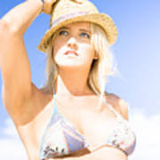 Bikini Lady Against Blue Sky Background Poster