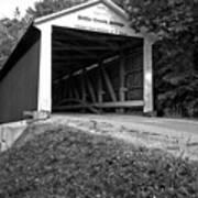 Billie Creek Covered Bridge Black And White Poster
