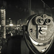 Binocular In New York City, Image In Grunge And Retro Style. Poster
