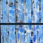 Birch Trees - Blue Poster