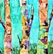 Watercolor Painting Of Birched Trees  Poster