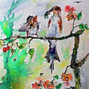 Bird Feeding Baby Watercolor Poster