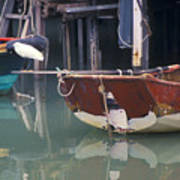 Bird On Boat Oar - Hong Kong Poster by Gordon Wood