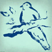 Bird On Branch In Blue Poster