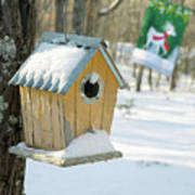 Birdhouse And Deer Flag Poster