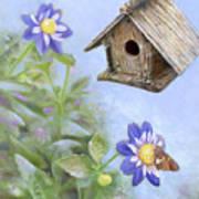 Birdhouse In A Country Garden Poster