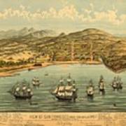 Birds Eye View Map Of San Francisco 1846 Poster