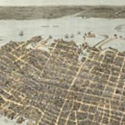 Birds Eye View Of Charleston 1872 Poster