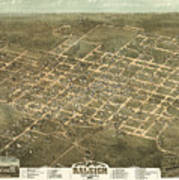 Bird's Eye View Of The City Of Raleigh, North Carolina 1872 Poster