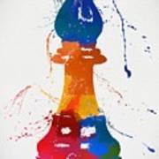 Bishop Chess Piece Paint Splatter Poster
