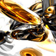 Black Amber Abstract Poster