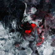 Black And Red Abstract Painting  Poster