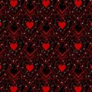 Black And Red Hearts Poster