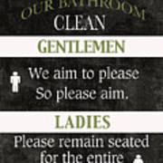 Black And White Bathroom Rules Poster