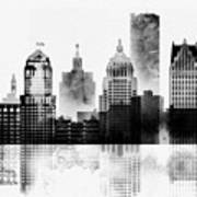 Black And White Detroit Poster