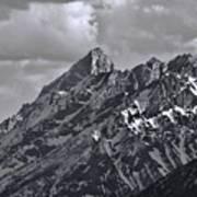 Black And White Grand Teton Detail Poster