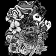 Black And White Love Bouquet Poster