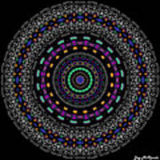 Black And White Mandala No. 4 In Color Poster