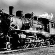 Black And White Of An Old Steam Engine  Poster