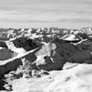 Black And White Of The Summit Of Mount Elbert Colorado In Winter Poster