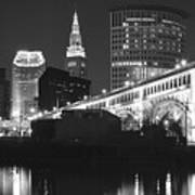 Black And White Panorama Of Cleveland Poster