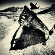 Black And White Photography Shipwreck Pinhole Poster