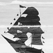 Black And White Pirate Ship Against The Sea And Crushing Waves. Double Exposure Poster