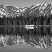 Black And White Reflection On Jackson Lake Wyoming Poster