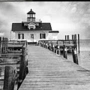 Black And White  Roanoke Lighthouse Poster
