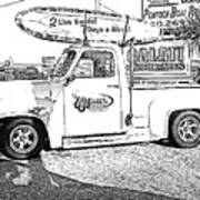 Black And White Sketch Truck Poster