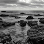 Black And White Sunset At Low Tide Poster