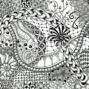 Black And White Tangle Art Poster