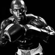 Black Boxer In Black And White 07 Poster by Val Black Russian Tourchin