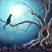 Black Cat In A Haunted Tree Poster