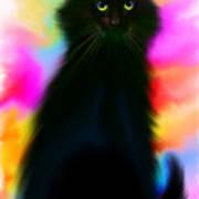 Black Cat Rainbow Sky Poster
