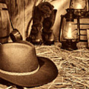 Black Cowboy Hat In An Old Barn Poster