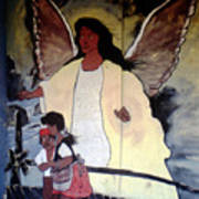 Black Guardian Angel Mural Poster