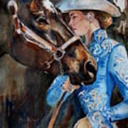 Black Horse And Cowgirl   Poster