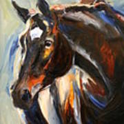 Black Horse Oil Painting Poster