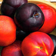 Black Plums And Nectarines In A Wooden Bowl Poster