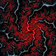 Black Veins Red Blood Abstract Fractal Art Poster