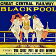 Blackpool, England - Retro Travel Advertising Poster - Three Fashionable Women - Vintage Poster -  Poster
