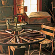 Blacksmith Shop Wheel Repair At Old World Wisconsin Poster