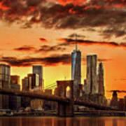 Blazing Manhattan Skyline Poster