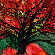 Blazing Red Orange Autumn Tree Poster